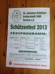 Schützenfest Plakat 2013 Schützen Dornick